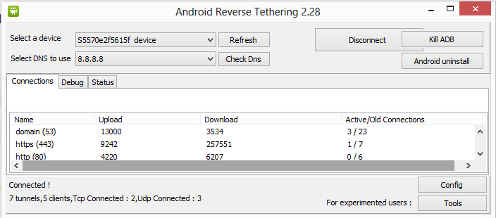 Android Reverse tethering 2.28